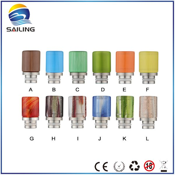 Sailing ecig 510 drip tips colorful glass replaceable glass