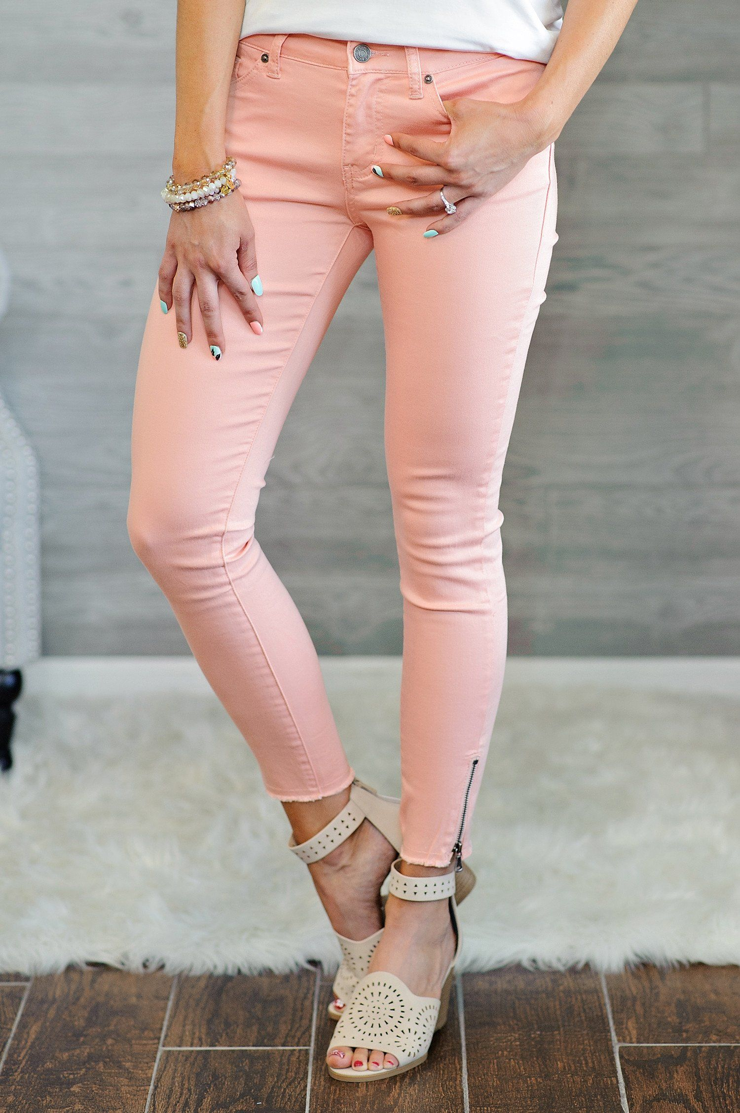 Cassidy Skinny Jean With Zipper Detail : Peach | Pinterest