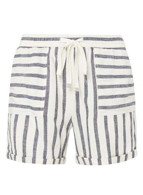 **Tall Blue Striped Linen Shorts - Shorts - Clothing - Dorothy Perkins