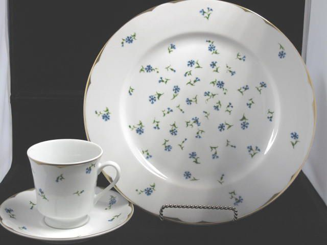 John Adams  This blue cornfIower design served as the first presidential china to be used in what would eventually be called The White House. This porcelain dinnerware was originally purchased by President and Mrs. Adams while he served as foreign minister to France in 1780.