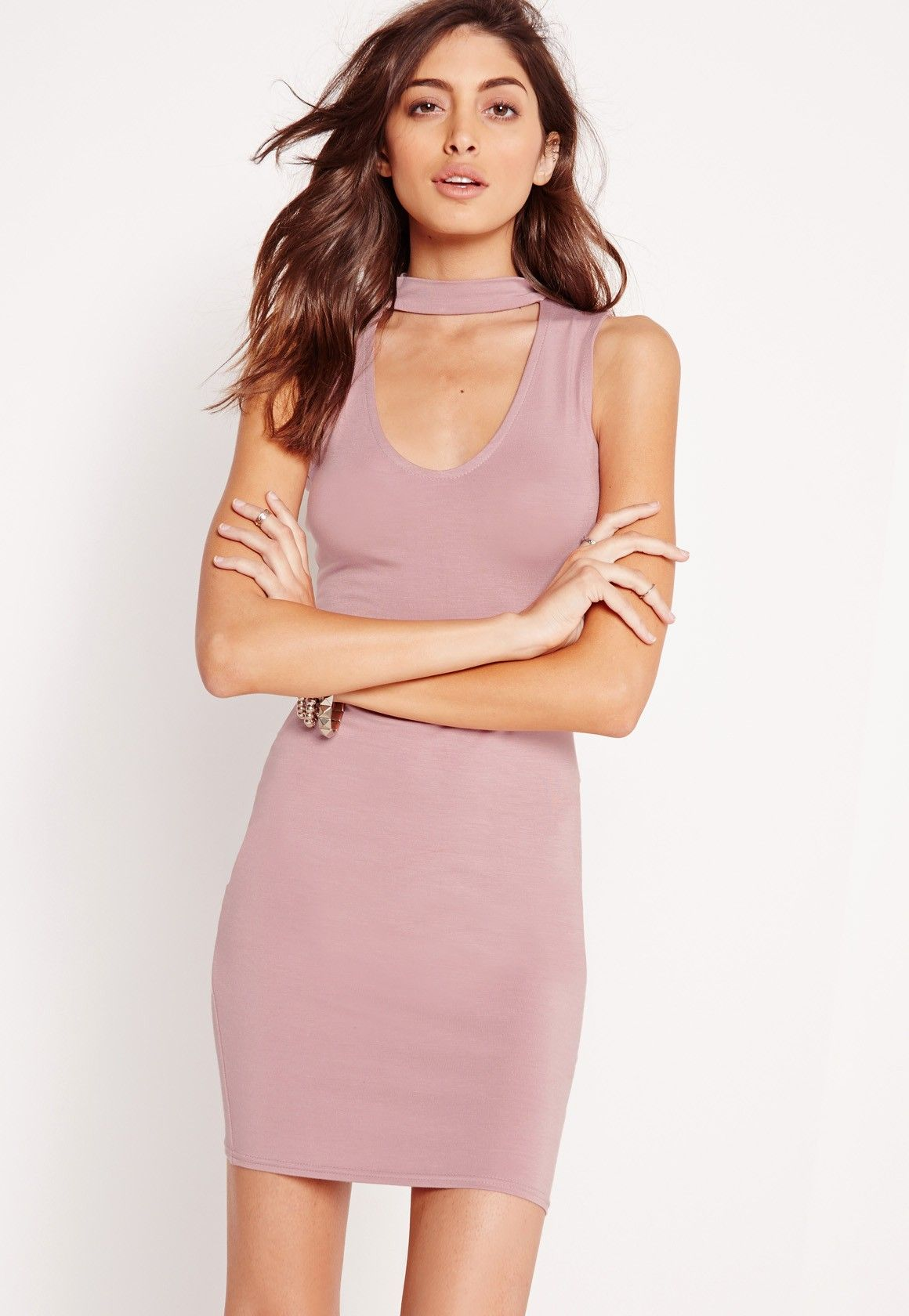Missguided - Choker Neck Jersey Bodycon Dress Lilac | Outfits ...