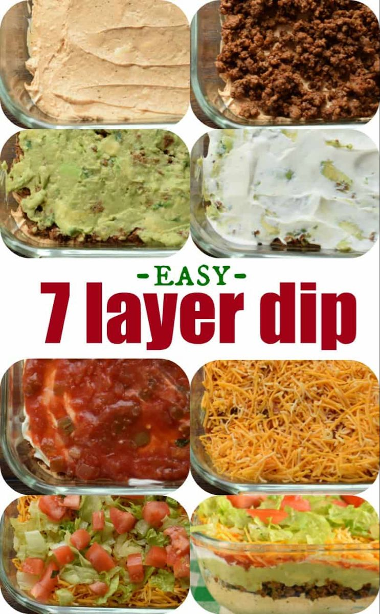 The Ultimate 7 Layer Dip Recipe Is Packed With Layers Of Cream Cheese Sour Cream Ground Beef And Or B Layered Dip Recipes 7 Layer Dip Recipe Seven Layer Dip