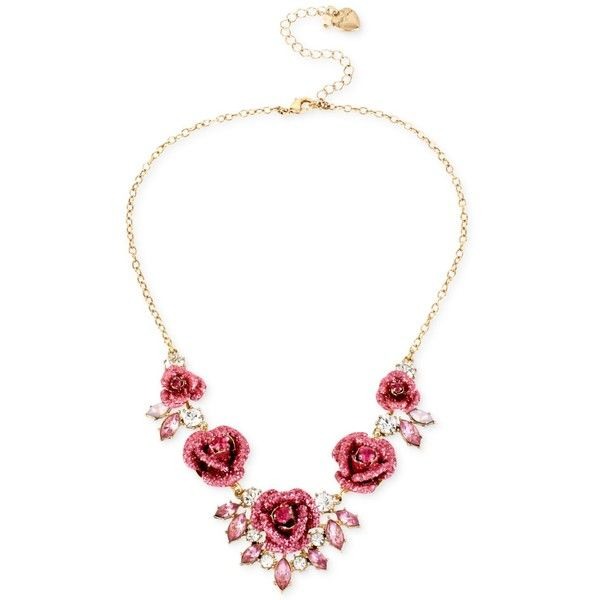 Betsey Johnson GoldTone Glitter Rose Frontal Necklace 68