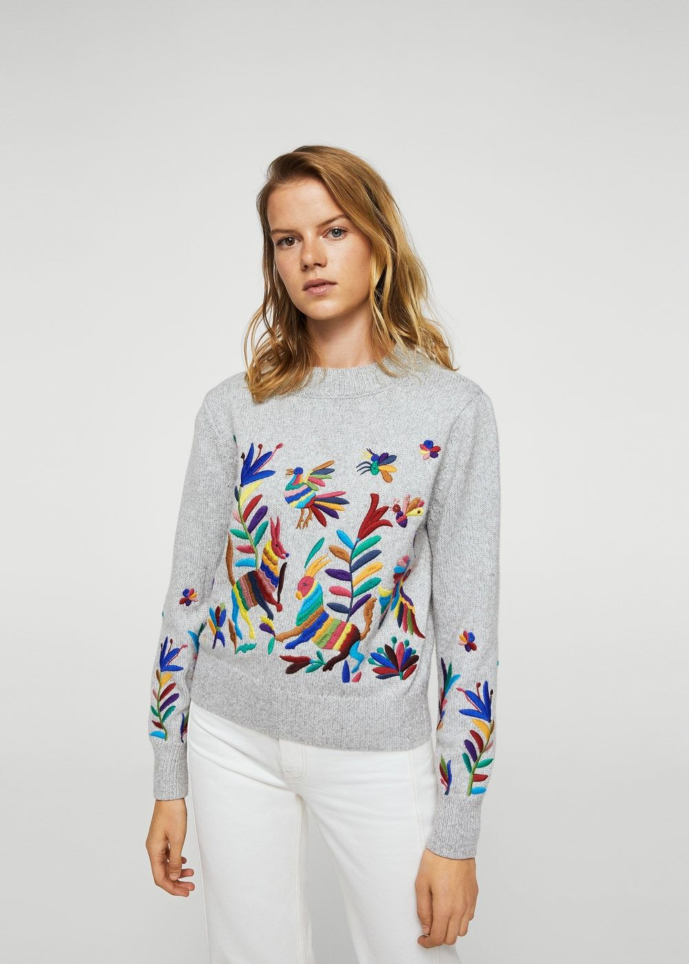 28ee925404 Jersey bordado floral - Cárdigans y jerséis de Mujer