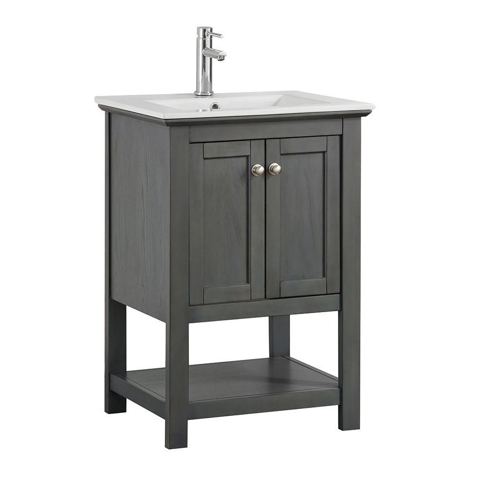 Bradford Regal 24 In W Bathroom Vanity In Gray With Ceramic