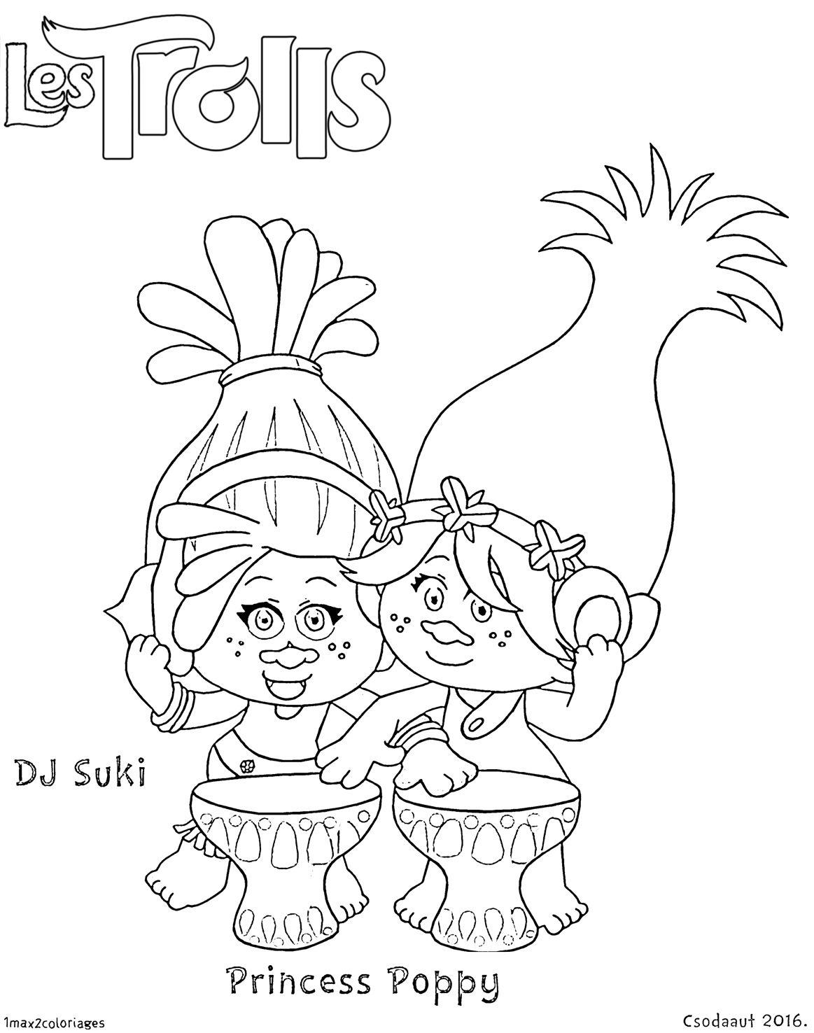 Coloriage dj suki et princesse poppy kolorowanki for Trolls coloring pages dj suki