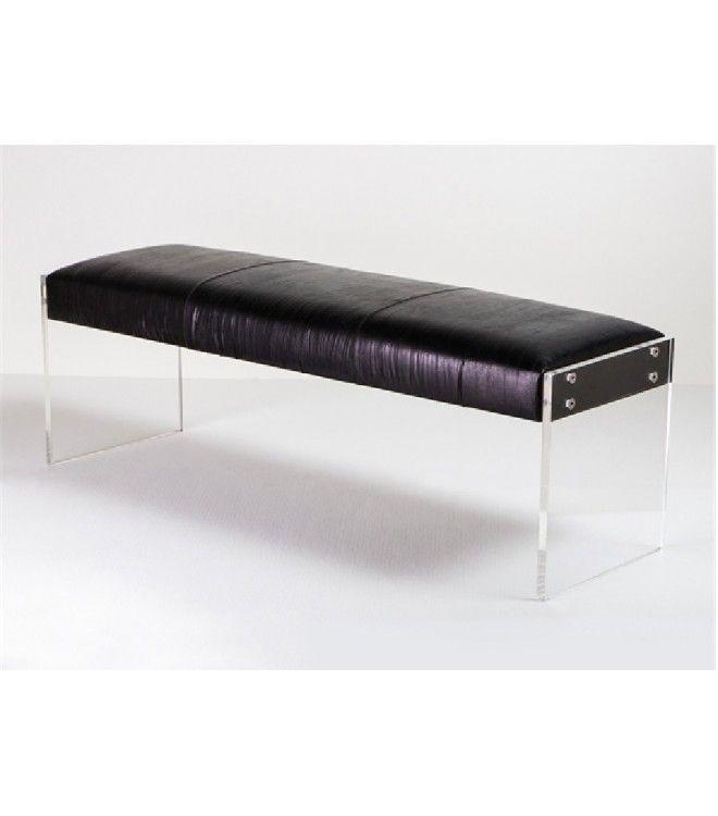 modern black leather u0026 acrylic bench - Acrylic Bench