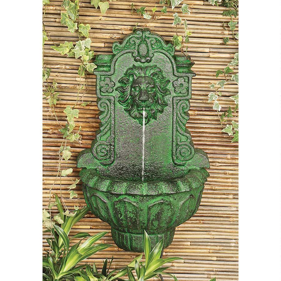 casa del lago lion head wall niche sculptural fountain my