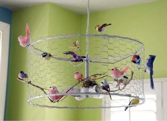 """""""Bird on a Wire"""" Chandelier.  Makes me thinking of birds on garden fencing or tomato cages.  Add some leaves, flowers, or fake grapes?"""