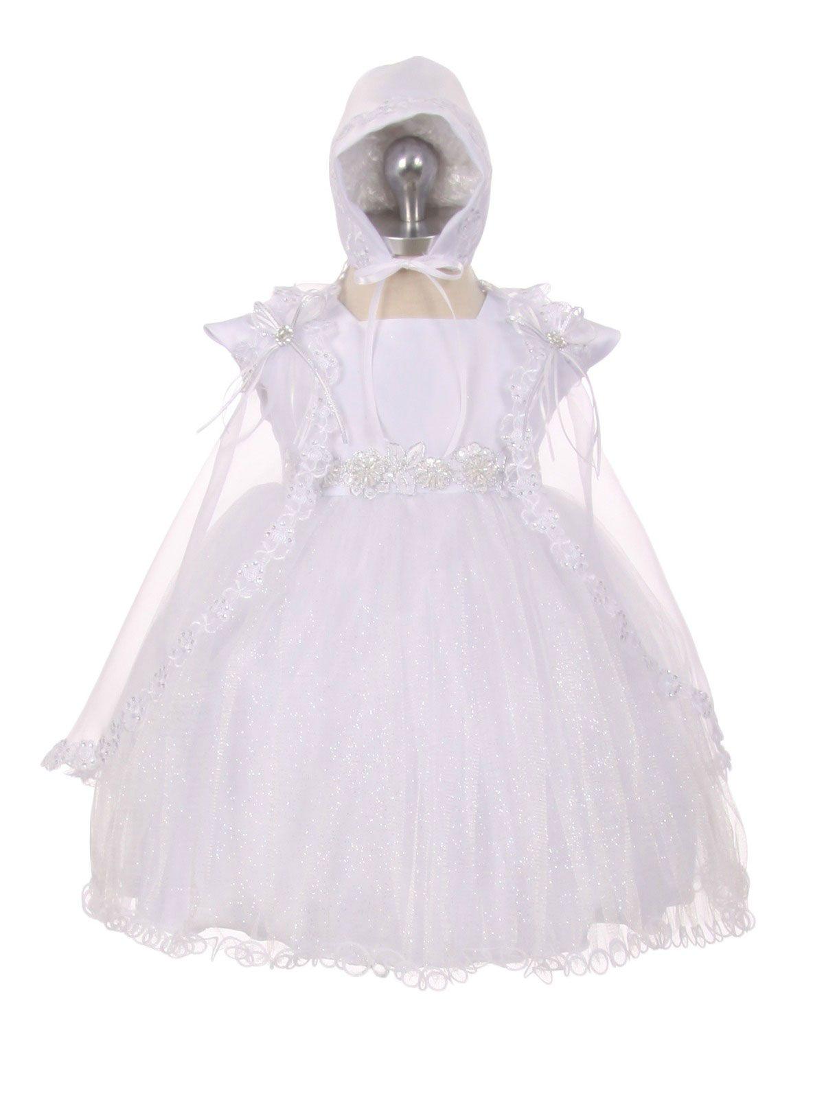 Girls Baptism-Christening Gown Style 018 - WHITE Cap Sleeve Satin ...