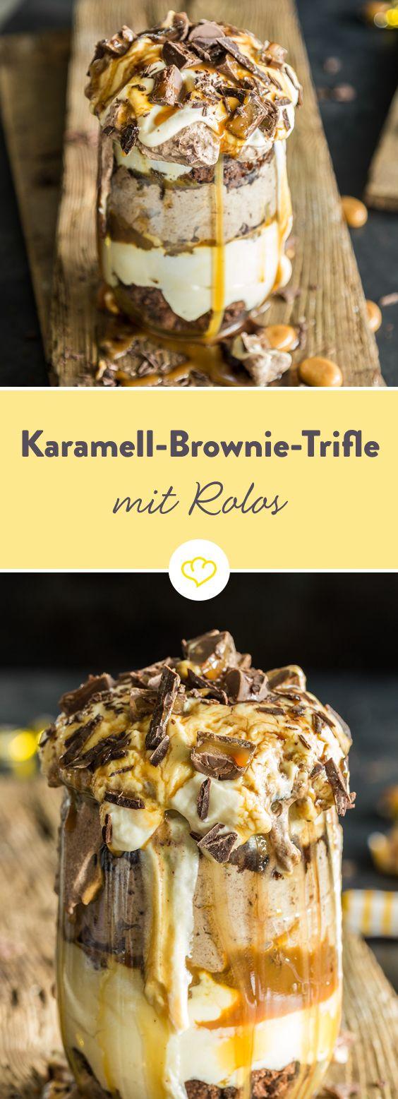 Das beste zum Dessert: Karamell-Brownie Trifle mit Rolos #trifledesserts