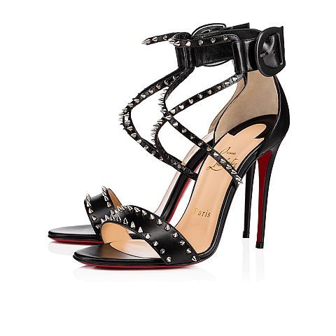 7097a47bf67 CHRISTIAN LOUBOUTIN Choca Spikes 100 Black/Nikel Leather - Women ...