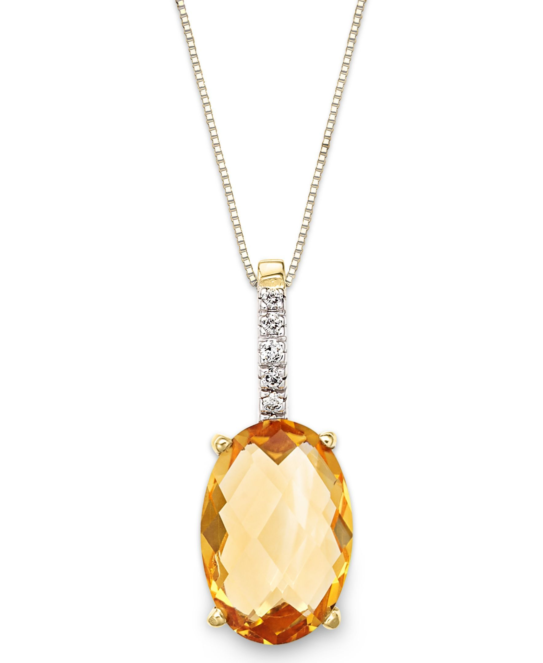 14k Gold Necklace, Citrine (3 ct. t.w.) and Diamond Accent Oval Pendant