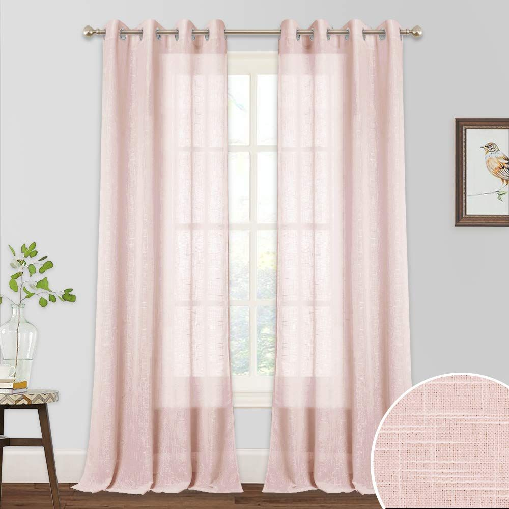 Ryb Home Curtains 95 Inches Long Linen Sheer Curtains Half