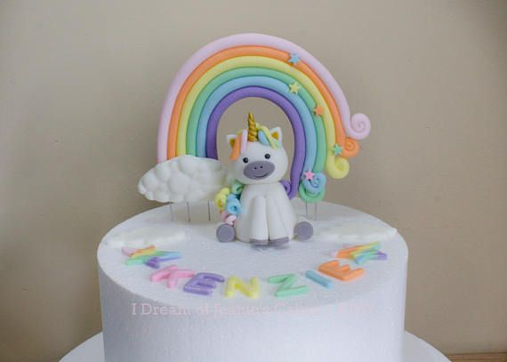 Cute Curly Haired Pastel Unicorn Rainbow Cake Topper Set