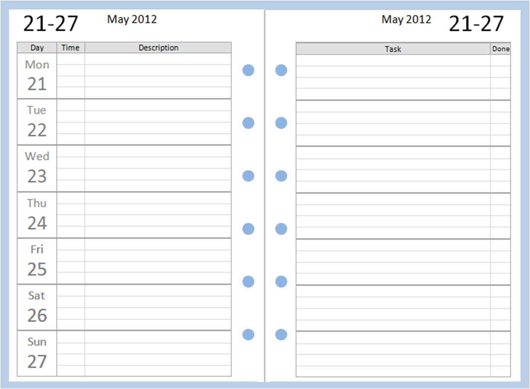 2 week schedule template excel