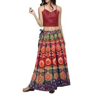 Femmes Casual Plume Multicolor Imprimer ample Boho de Jupe longue Jupe de Bohême plage _M