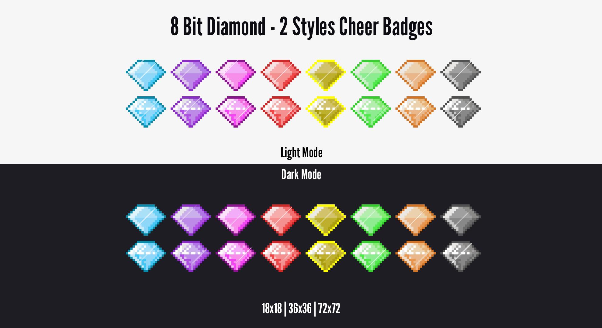 Twitch Cheer Badges 8 Bit Pixel Diamond Twitch Cheer Twitch 8 Bit