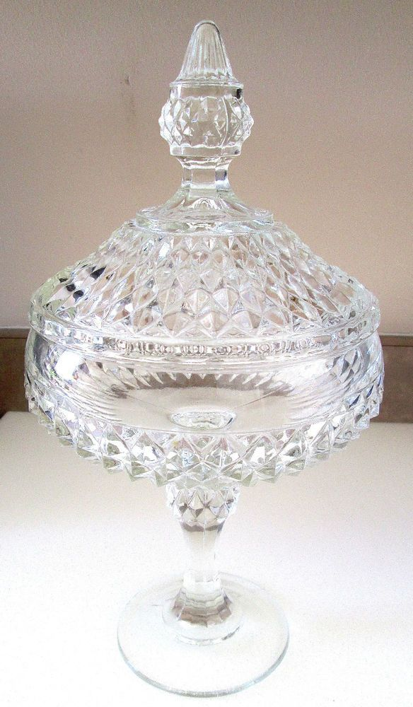 CANDY DISH - DIAMOND POINT PATTERN - COVERED - PEDESTAL
