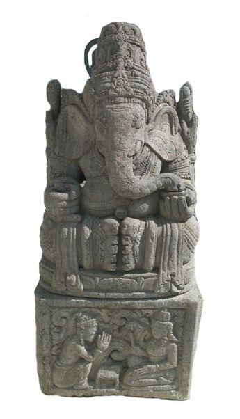 "Indonesian Basalt Sculpture of Ganesha - X.0580 Origin: Indonesia Circa: 19 th Century AD to 20 th Century AD Dimensions: 57"" (144.8cm) high x 24.5"" (62.2cm) wide"