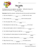 Suffix Worksheet FUL | Suffixes worksheets, Have fun ...