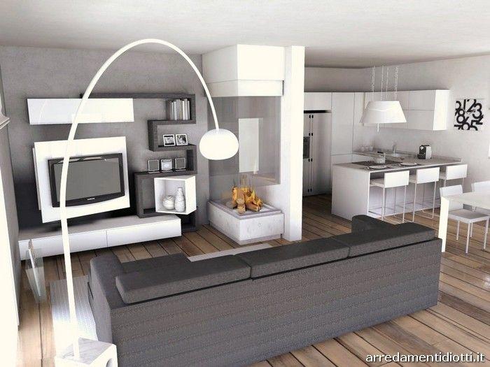 Disegno cucine a soggiorno : 17 migliori idee su Camere Soggiorno Cucina su Pinterest | Piano ...