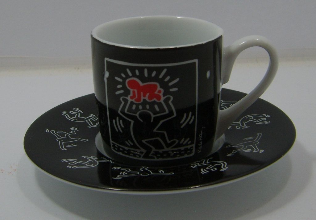 Keith Haring vintage espresso cup and saucer, set of one
