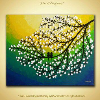 Original Artwork Love birds on tree White flowers 3D Canvas Art ...