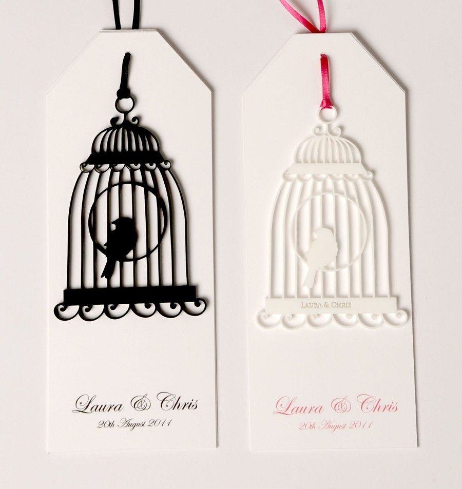 Laser cut birdcage wedding invitations Vintage Weddings