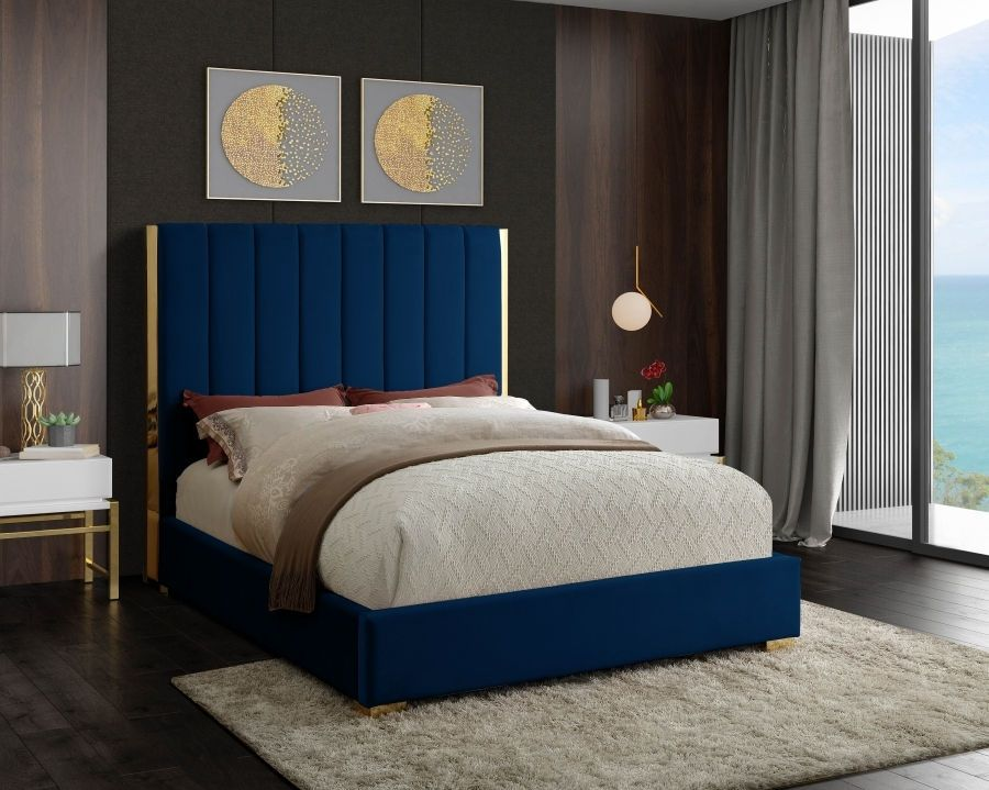 Meridian Becca Navy Gold Frame Legs Blue Velvet Queen Bed In
