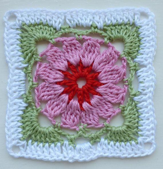 Patrón de instantánea descargar Crochet PDF - LD-0101 flores bloque ...
