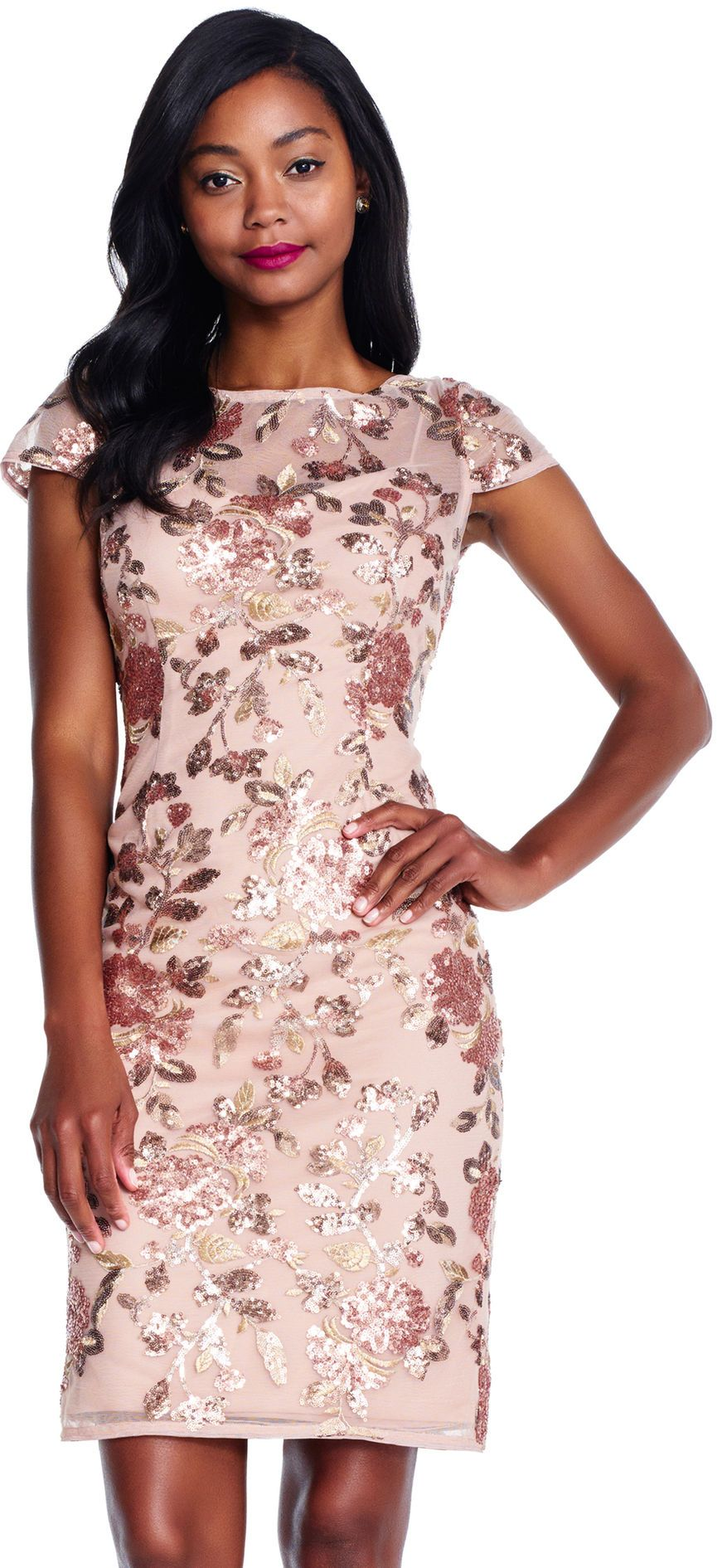 0847596e6a0f3 Short Sleeve Floral Sequin Sheath Dress in 2019 | Engagement dresses ...