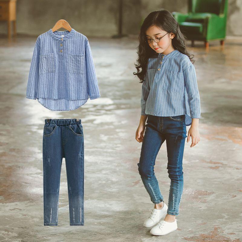 Barato Meninas da escola de Moda Outfit 2 pcs Roupas Definir Mangas  Compridas Do Vintage Top Estilo Quebrado para Adolescentes Age56789 10 11  12 13 14 Anos ... 53ad10f23ba