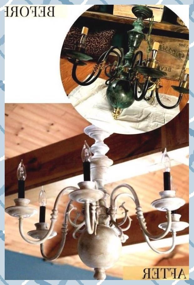 DIY Chandelier Makeovers - $5 Thrift Store Chandelier Makeover - Easy Ideas for ...