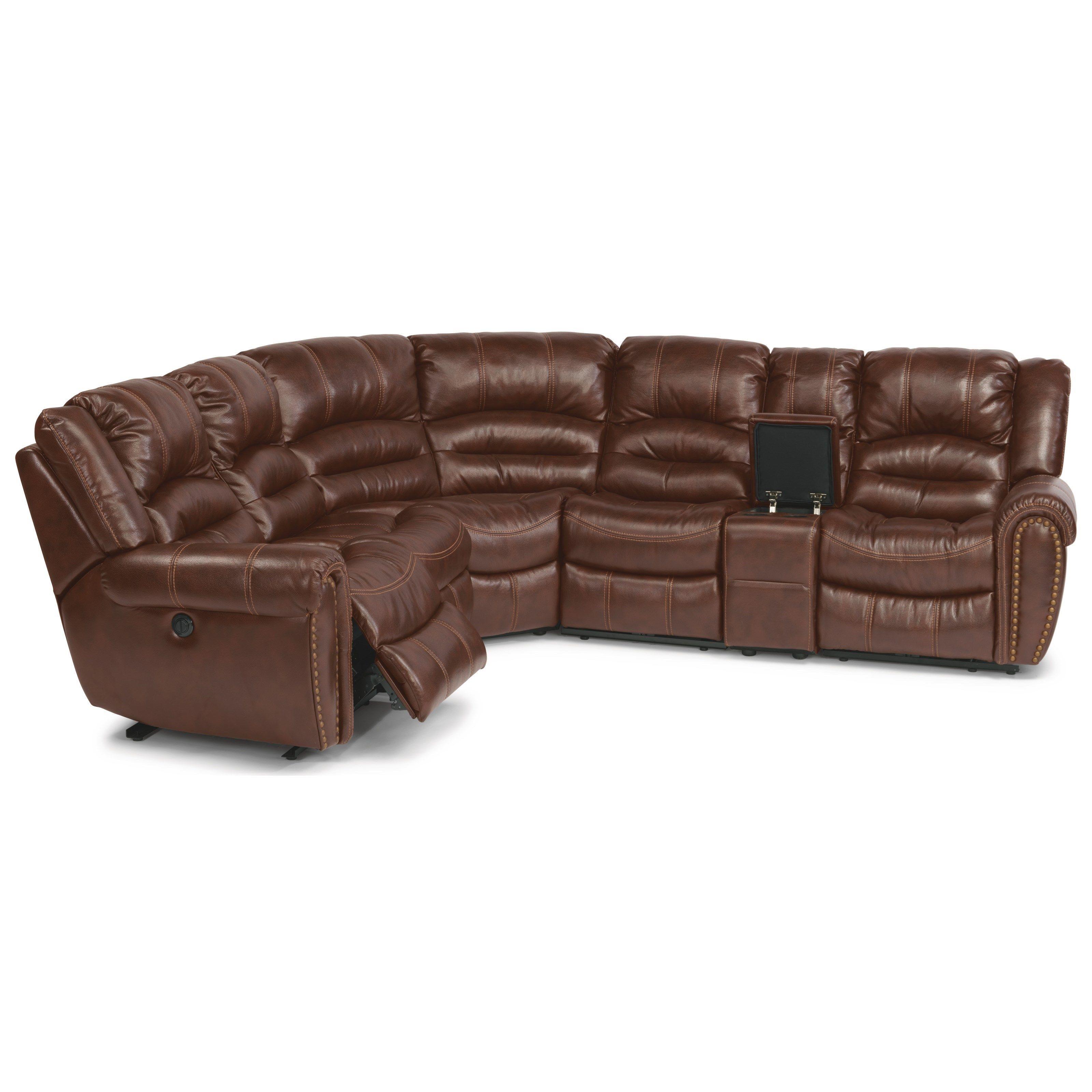 crosstown 6 pc power reclining sectional sofa by flexsteel
