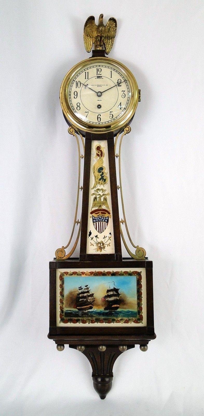 Antique 20c Chelsea Mahogany Case Constitution Guerriere Banjo Wall Clock Ebay Antique Wall Clocks Wall Clock Clock