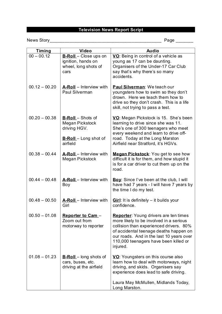 Tv News Report Script Example Tv News Screenplay Format Script