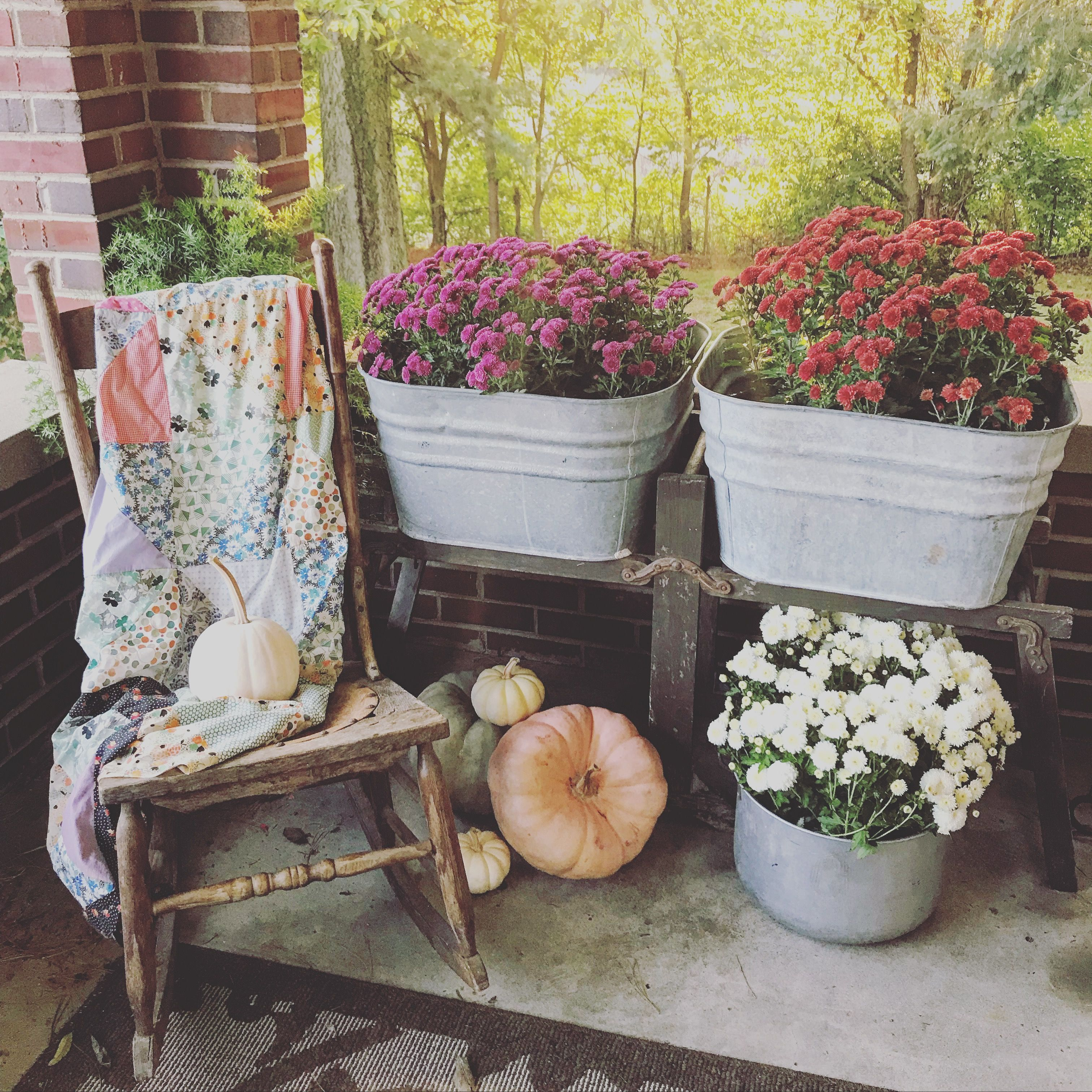 Fall Front Porch Blooming Mums In Vintage Wash Tubs Making Use Of An Old Cooking Pot As A Planter Wash Tubs Fall Front Porch Fall Planters