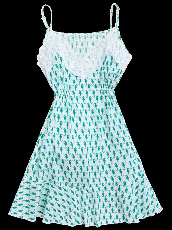 Sea Horse Print Lace Panel Cami Sleep Dress - GREEN S Mobile