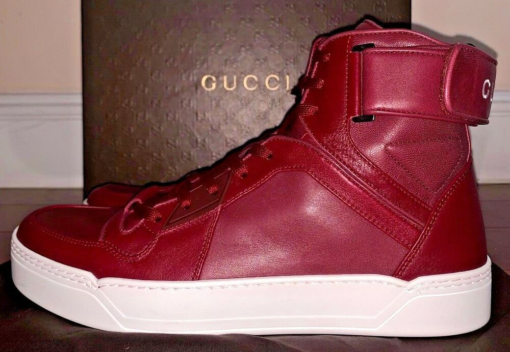 b452c1a534a Gucci Mens Burgundy High Top Leather Sneakers Size 10  Gucci   BasketballShoes