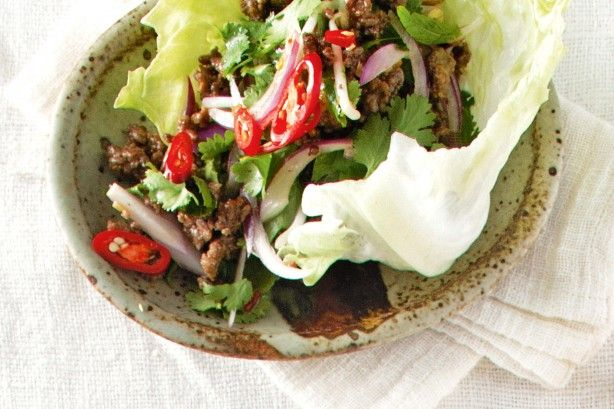 Pockets of lettuce piled high with mince, and Thai herbs and spices make a satisfying weeknight dinner.