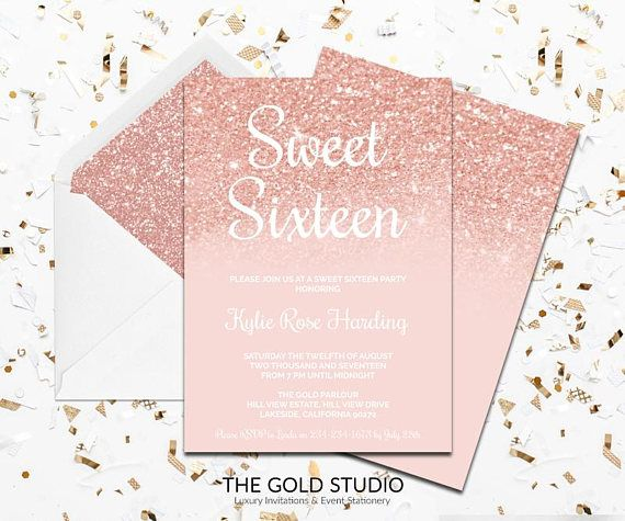 Rose Gold Sweet Sixteen Invitation Peach Gold Glitter Printed