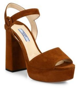 Prada Suede Peep-Toe Platform Sandals  bb2addbf0a