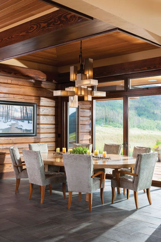 Milled Log Home Dining Room