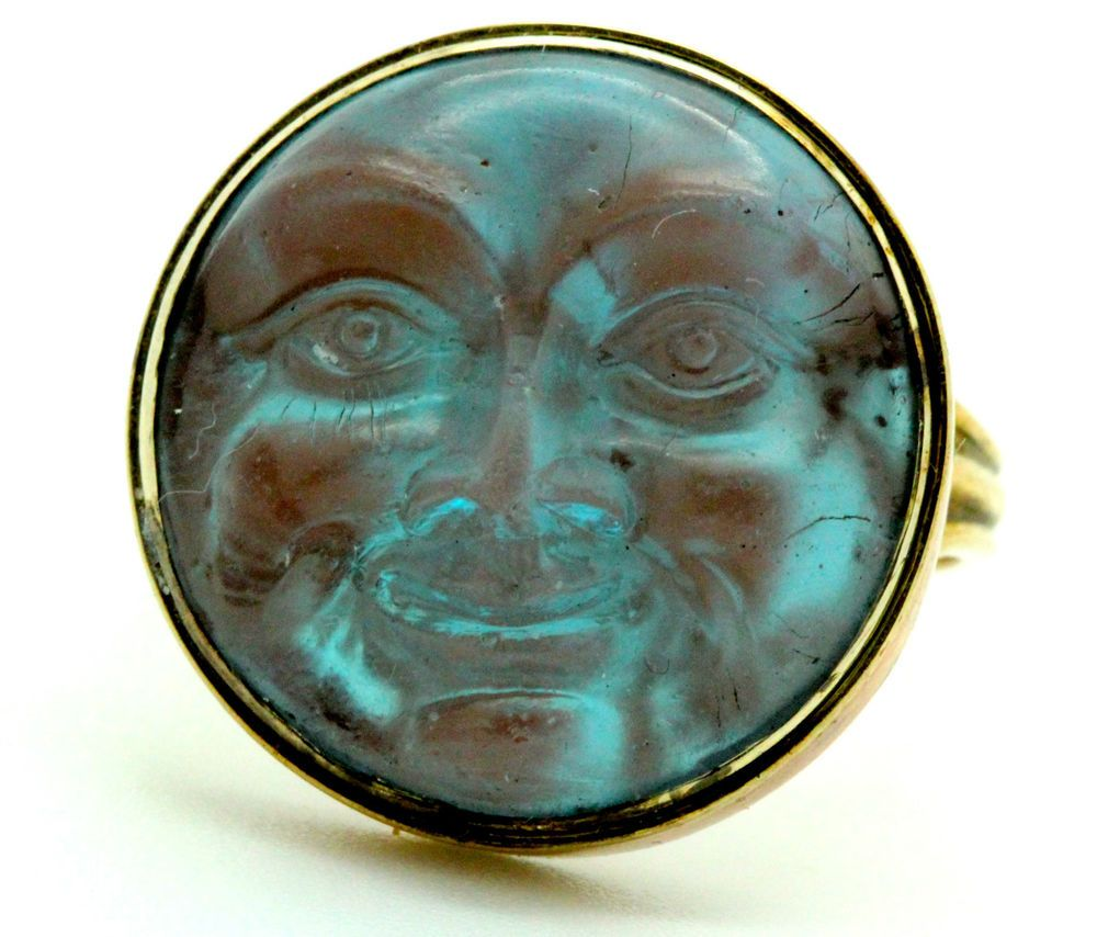 A Magnificent Man In The Moon Moonstone Ring Circa 1800's ..love this but i think its made of saphiret glass, not moonstone!