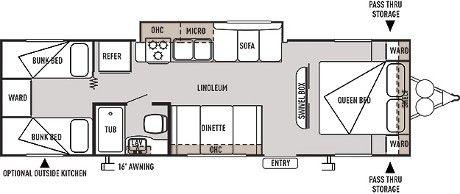 Wildwood Wildwood X Lite 281qbxl Floorplan 2 Sets Of Bunk Beds And