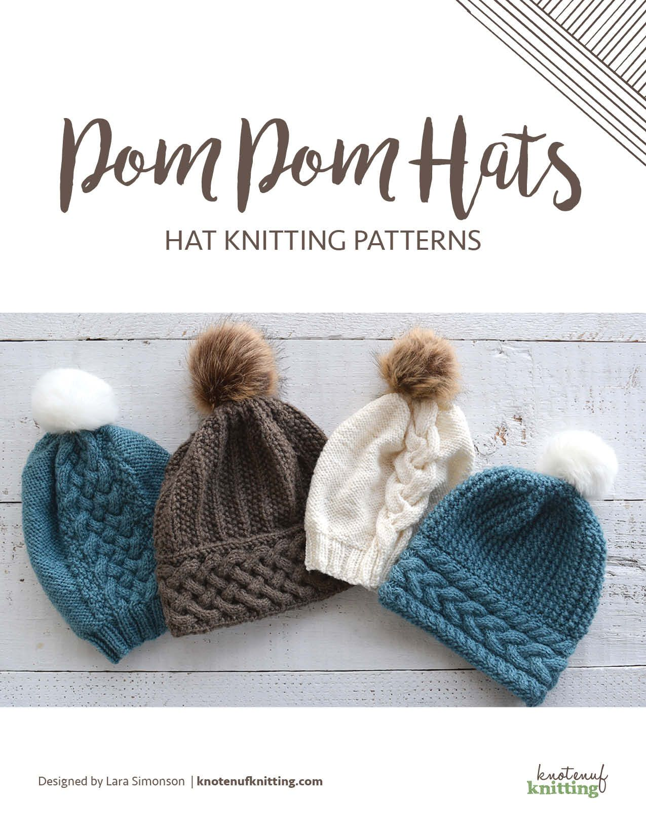 Pom Pom Hats features knitting patterns for four cute cable knit hats by  KnotEnufKnitting. Knit in the round f41f64406c8
