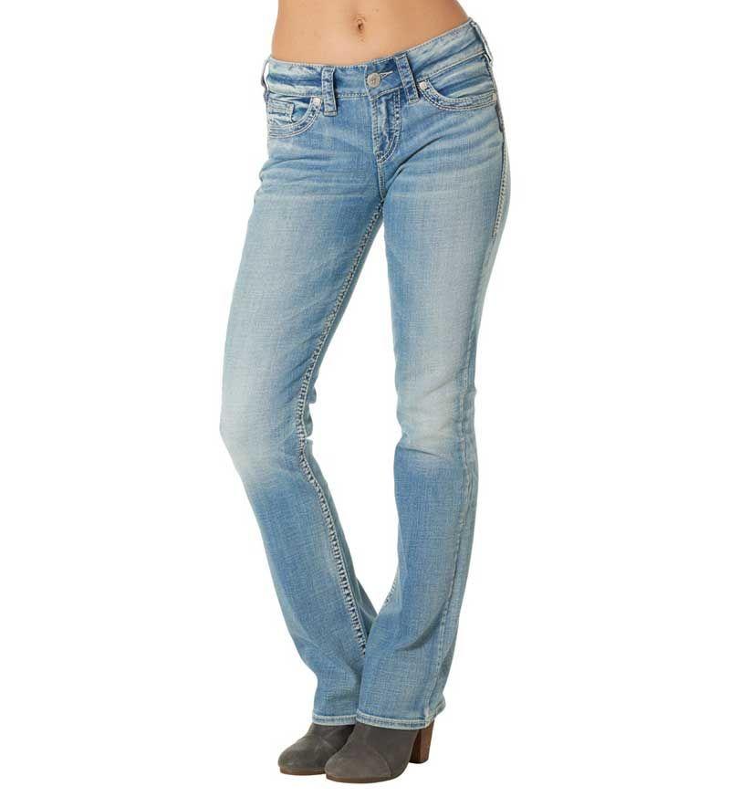 Silver Jeans Suki Mid Rise Slim Bootcut for Women in Light Wash L93616SIB224