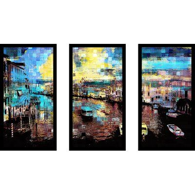 Photo of East Urban Home 'Venice, Italy IV' Framed Graphic Art Print Multi-Piece Image on Glass Size: 33.5″ H x 52.5″ W