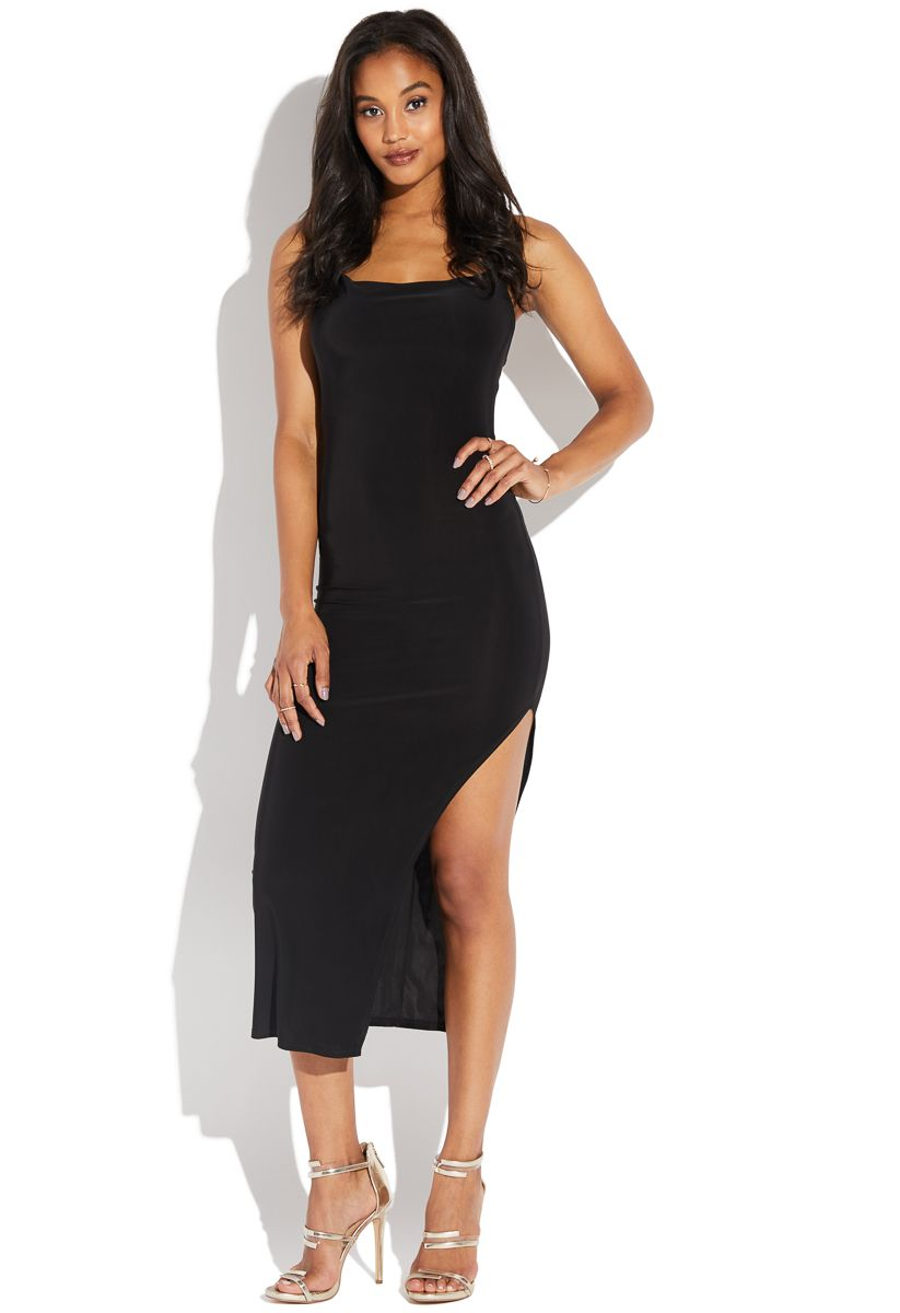 52b48e7267e4 Drape front high slit maxi in 2019 | Shoedazzle | High Neck Dress ...